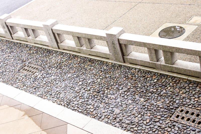 Le plan rapproché du plancher en pierre et la pierre clôturent le style japonais l'asakusa photos libres de droits
