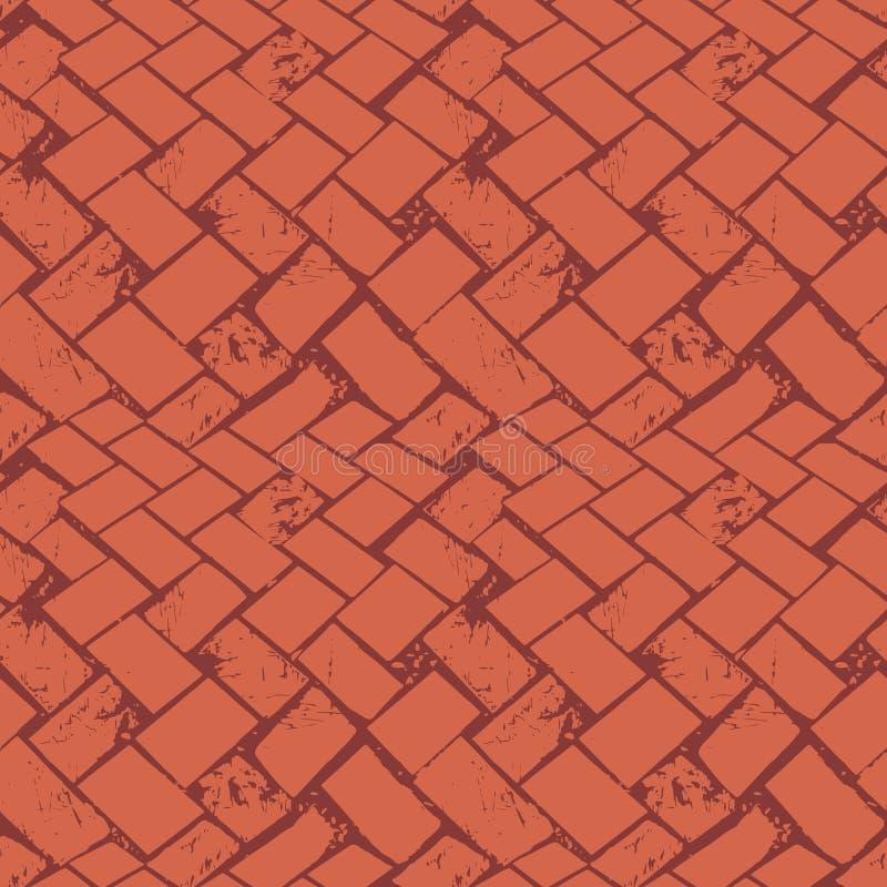 Le plancher abstrait de sol de mosaïque tissent la texture en pierre grunge Modèle sans couture de vecteur sur le fond brûlé  illustration de vecteur