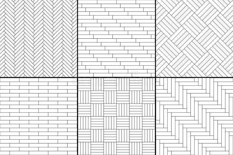 Le plancher de parquet en bois simple noir et blanc a placé - l'arête de hareng, rayures, modèles sans couture de places, vecteur illustration libre de droits