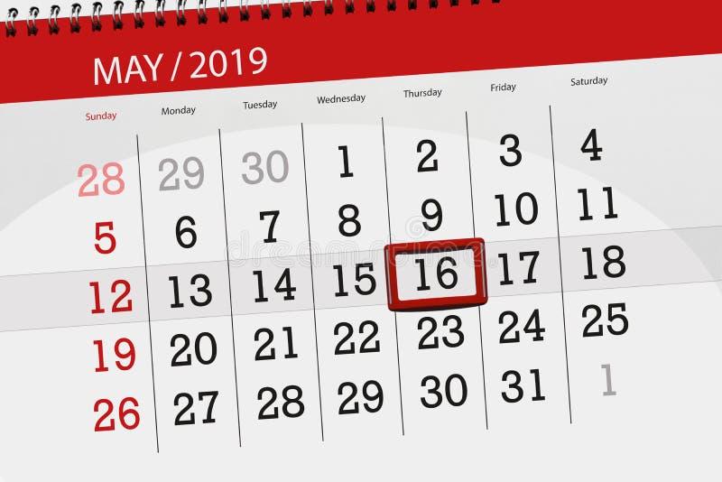 Le planificateur de calendrier pour le mois peut 2019, jour de date-butoir, jeudi 16 illustration de vecteur