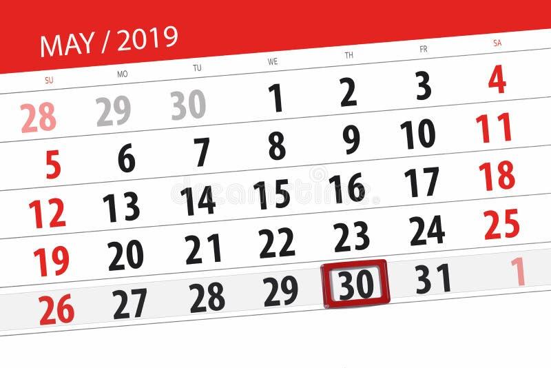 Le planificateur de calendrier pour le mois peut 2019, jour de date-butoir, jeudi 30 photos libres de droits
