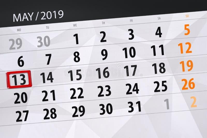 Le planificateur de calendrier pour le mois peut 2019, jour de date-butoir, lundi 13 images libres de droits