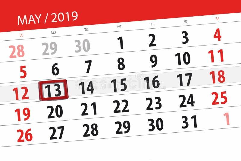 Le planificateur de calendrier pour le mois peut 2019, jour de date-butoir, lundi 13 photo stock