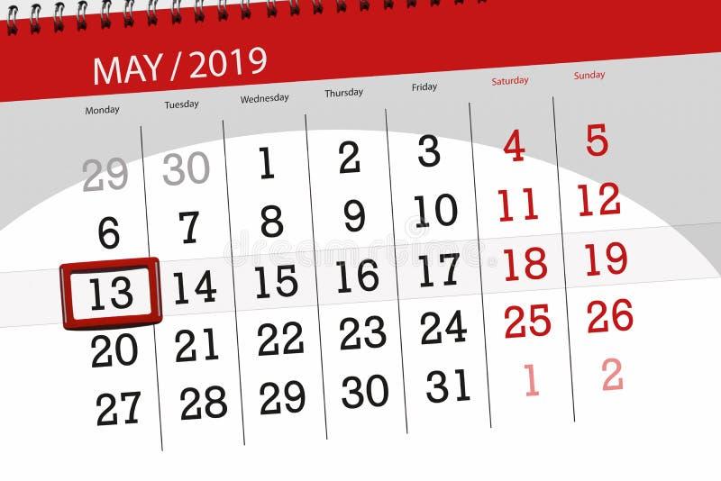 Le planificateur de calendrier pour le mois peut 2019, jour de date-butoir, lundi 13 illustration stock