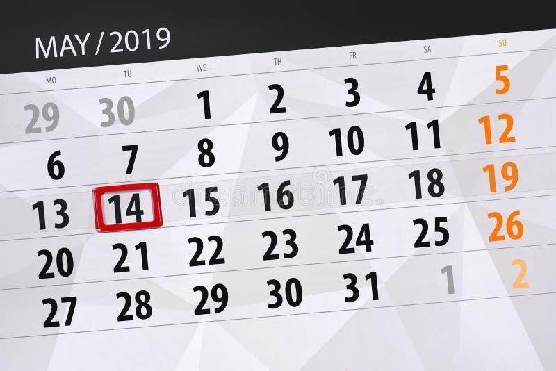 Le planificateur de calendrier pour le mois peut 2019, jour de date-butoir, mardi 14 photo libre de droits