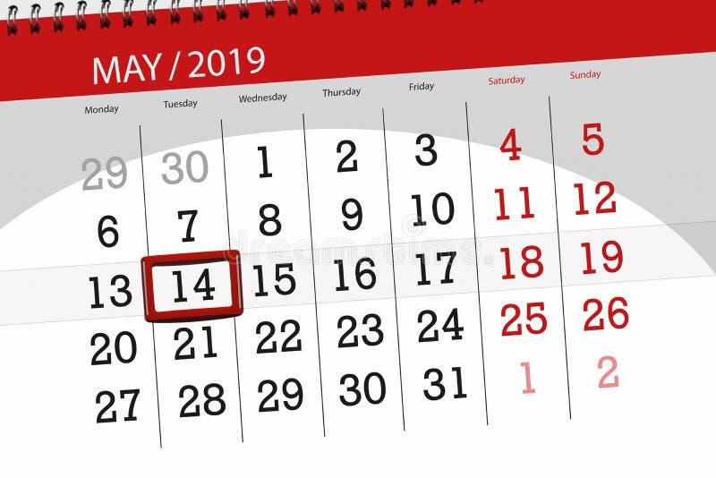 Le planificateur de calendrier pour le mois peut 2019, jour de date-butoir, mardi 14 images libres de droits