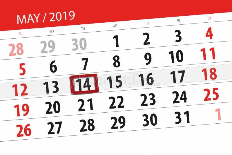 Le planificateur de calendrier pour le mois peut 2019, jour de date-butoir, mardi 14 image stock