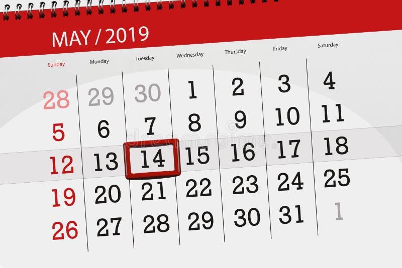 Le planificateur de calendrier pour le mois peut 2019, jour de date-butoir, mardi 14 illustration de vecteur