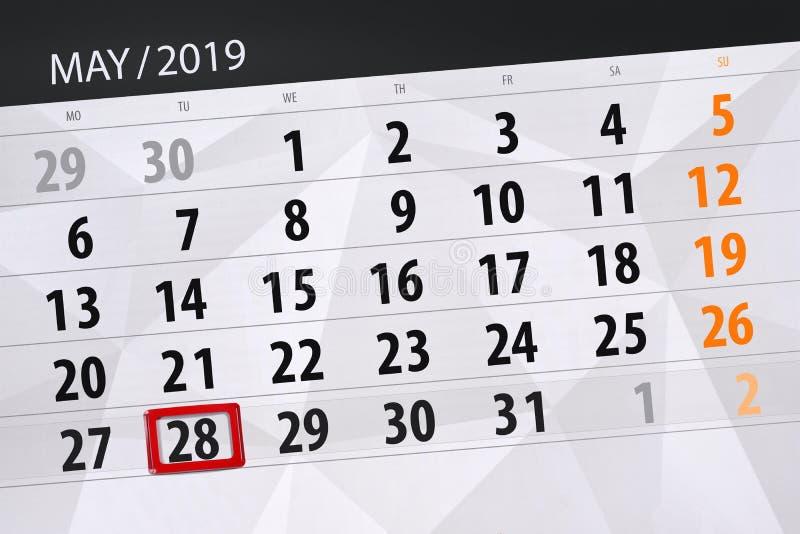 Le planificateur de calendrier pour le mois peut 2019, jour de date-butoir, mardi 28 images stock