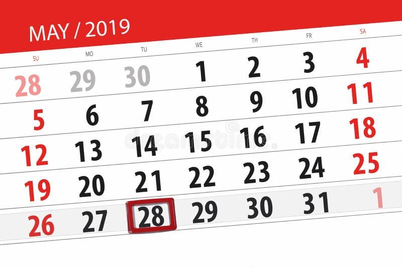 Le planificateur de calendrier pour le mois peut 2019, jour de date-butoir, mardi 28 photos stock