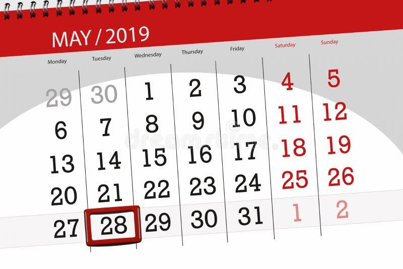 Le planificateur de calendrier pour le mois peut 2019, jour de date-butoir, mardi 28 photo libre de droits