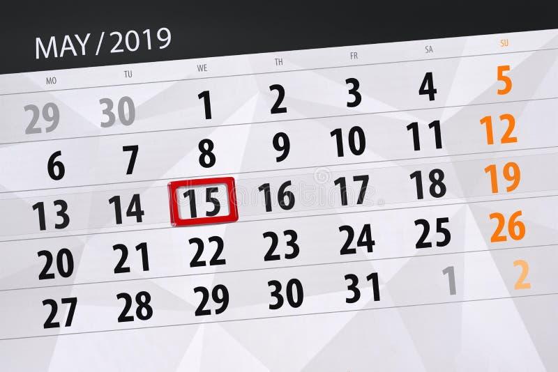 Le planificateur de calendrier pour le mois peut 2019, jour de date-butoir, mercredi 15 photographie stock