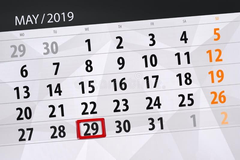Le planificateur de calendrier pour le mois peut 2019, jour de date-butoir, mercredi 29 images libres de droits