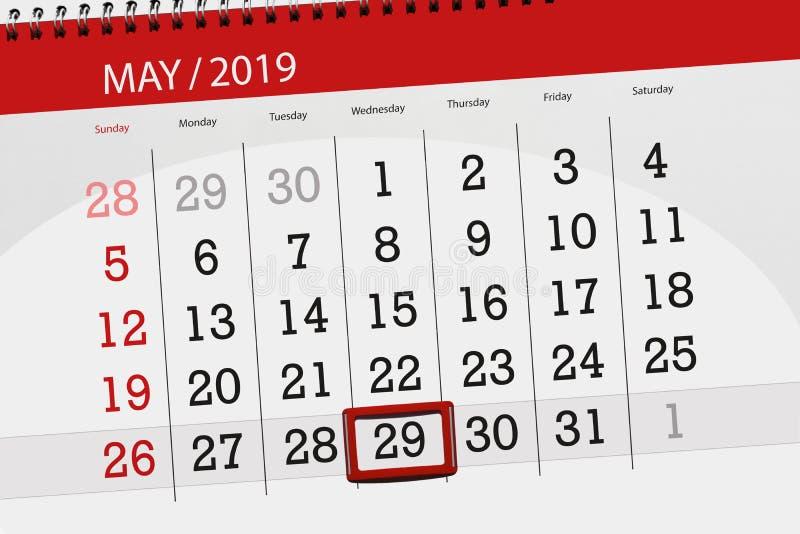 Le planificateur de calendrier pour le mois peut 2019, jour de date-butoir, mercredi 29 image libre de droits