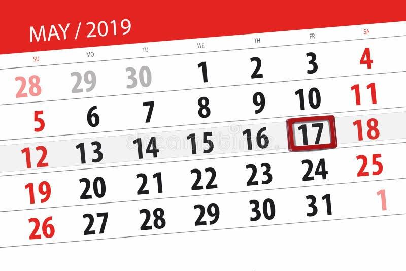 Le planificateur de calendrier pour le mois peut 2019, jour de date-butoir, vendredi 17 photographie stock libre de droits