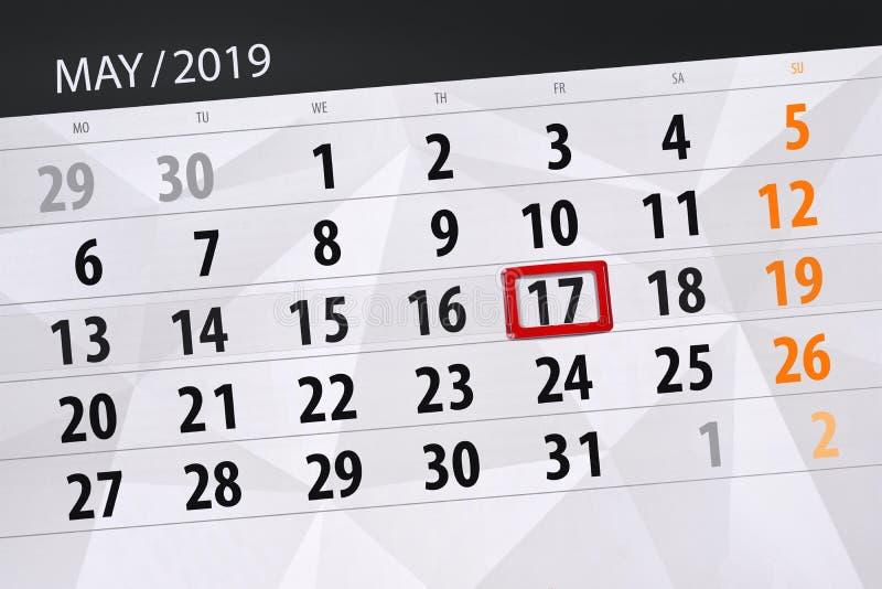 Le planificateur de calendrier pour le mois peut 2019, jour de date-butoir, vendredi 17 photos stock