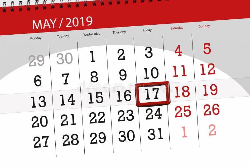 Le planificateur de calendrier pour le mois peut 2019, jour de date-butoir, vendredi 17 image libre de droits