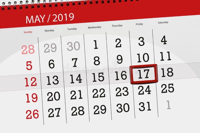 Le planificateur de calendrier pour le mois peut 2019, jour de date-butoir, vendredi 17 illustration de vecteur