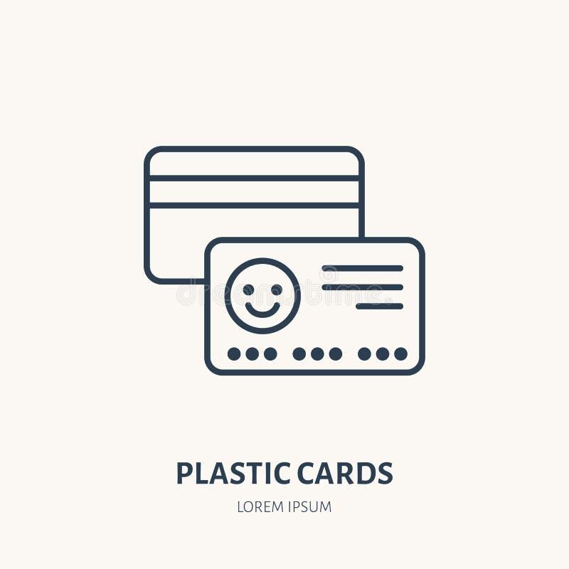 Le plastique carde la ligne plate icône VIP, crédit ou signe de carte cadeaux Logo linéaire mince pour le printery, studio de con illustration de vecteur