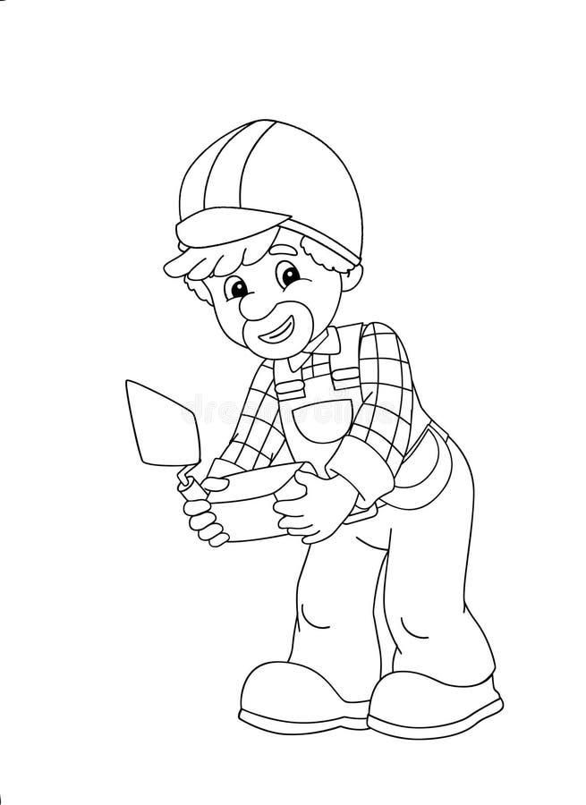 Le plat de coloration - travailleur de la construction - illustration pour les enfants illustration stock