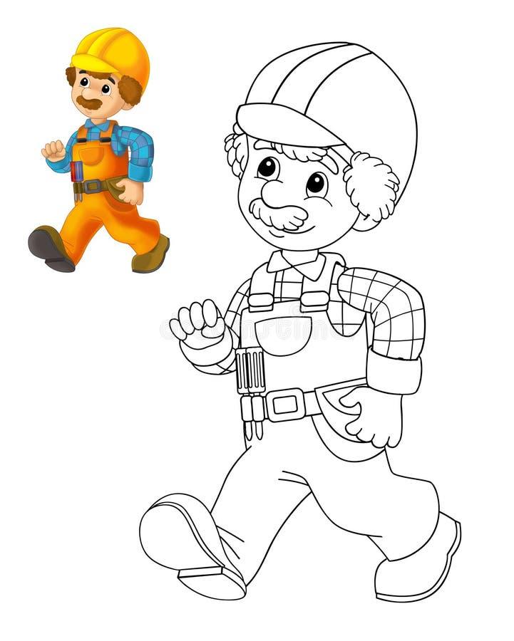 Le plat de coloration - travailleur de la construction - illustration pour les enfants avec la prévision illustration libre de droits