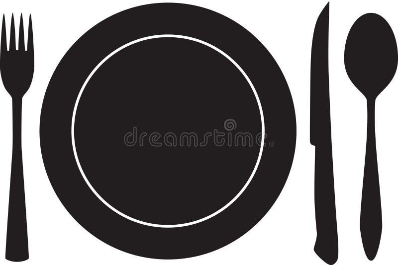 Le plats, la fourchette, la cuillère et le couteau silhouettent le vecteur image stock