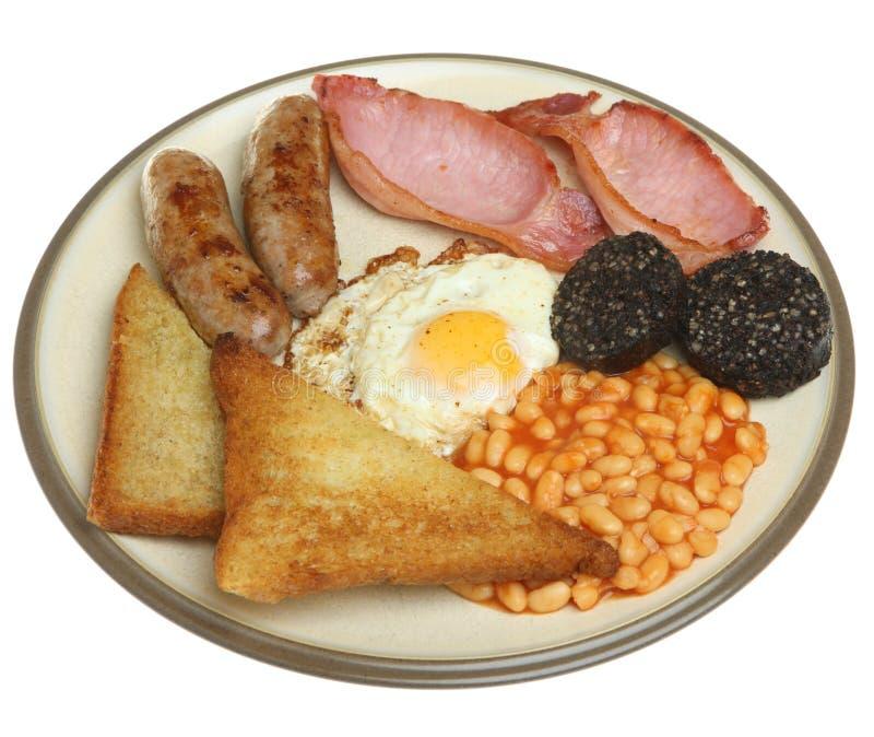 Le plein anglais Fried Breakfast Isolated sur le blanc images libres de droits