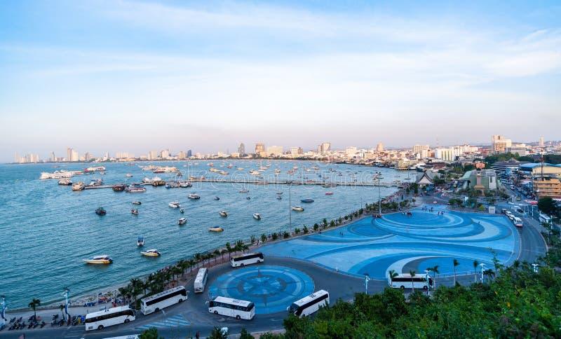 Le plus beau point de vue de la plage de Pattaya dans la ville de Pattaya à Chonburi en Thaïlande image libre de droits