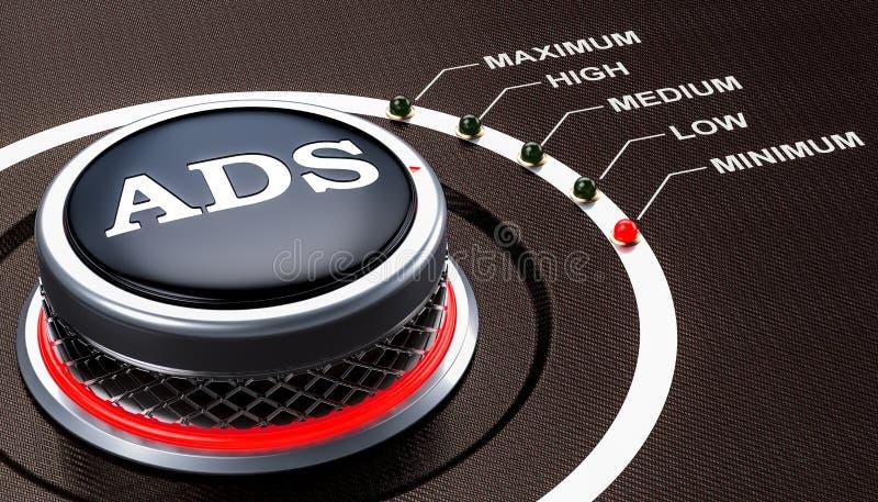 Le plus de bas niveau du concept d'ADS, bouton rendu 3d illustration libre de droits
