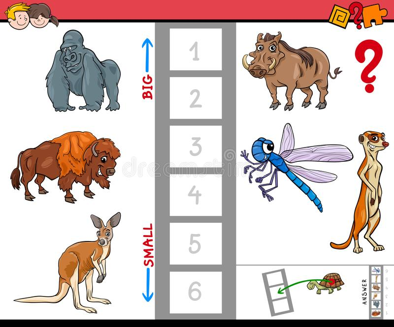 Le plus grand et plus petit jeu de bande dessinée animal illustration de vecteur