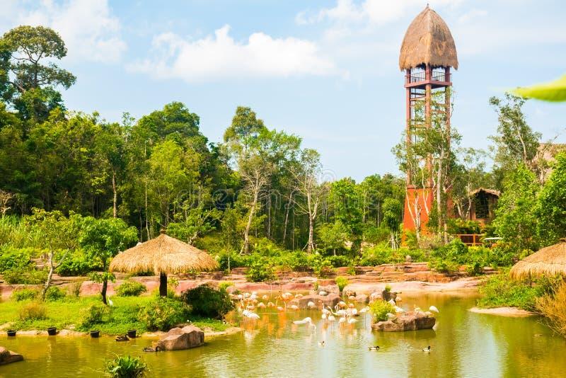Le plus grand parc zoologique en parc du Vietnam - de Vinpearl Safari Phu Quoc avec la flore exotique et la faune, Phu Quoc, Viet photo stock