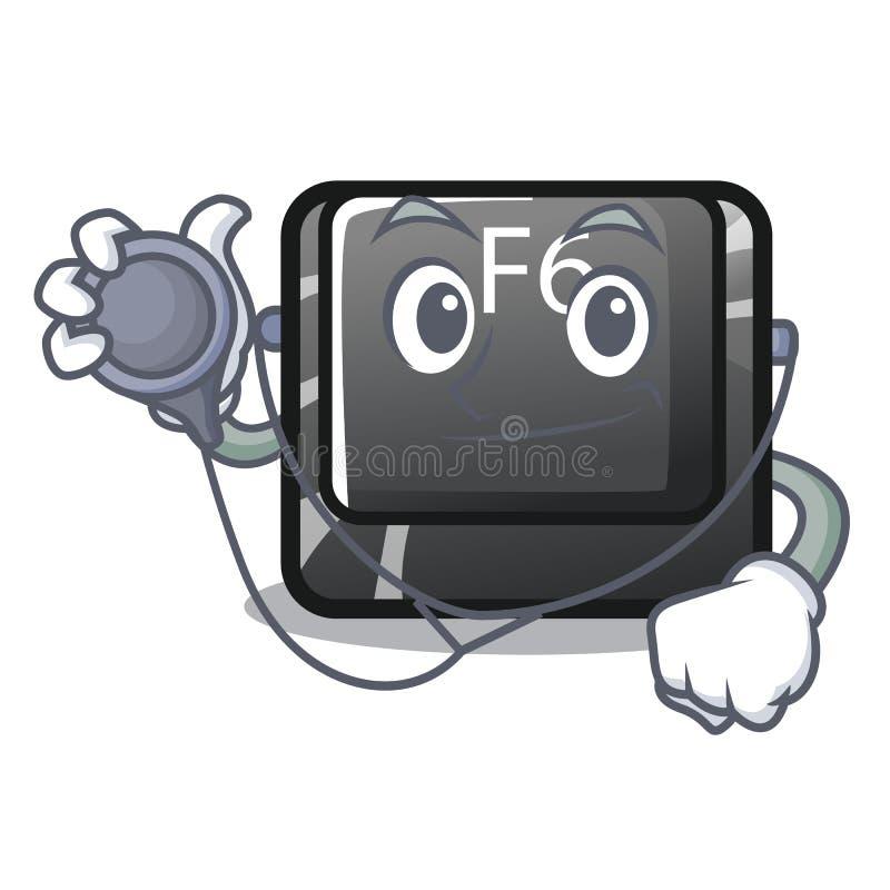 Le plus long bouton F6 de docteur sur l'ordinateur de bande dessinée illustration de vecteur
