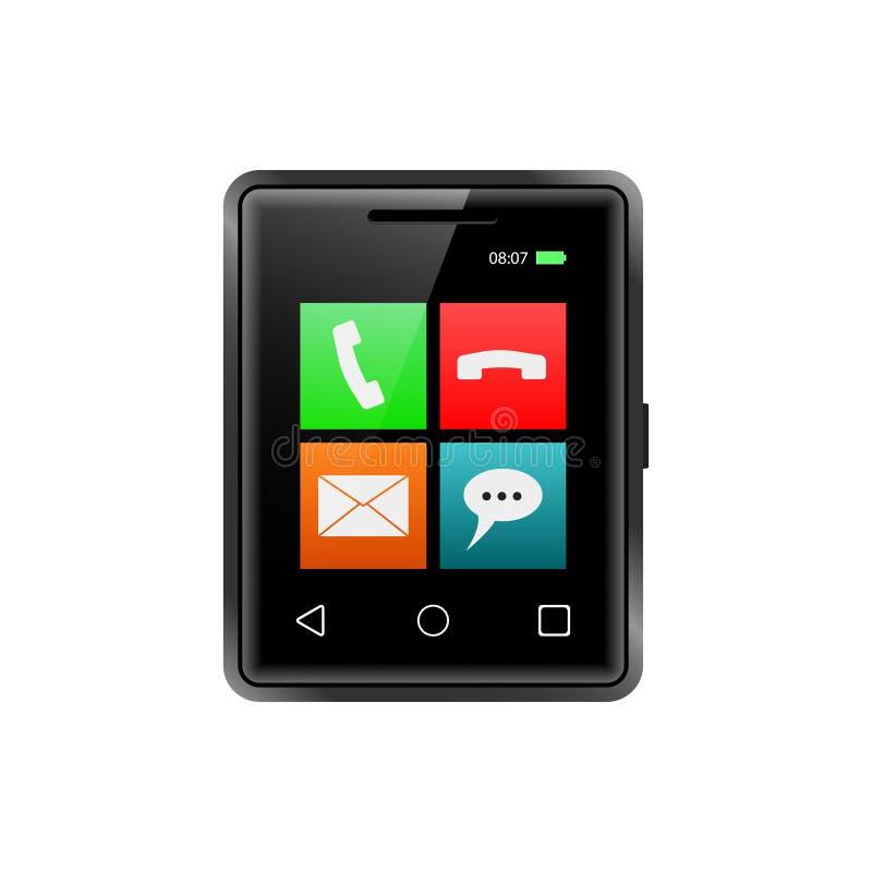 Le plus petit smartphone avec des icônes d'APP D'isolement sur le blanc Illustration de vecteur illustration stock
