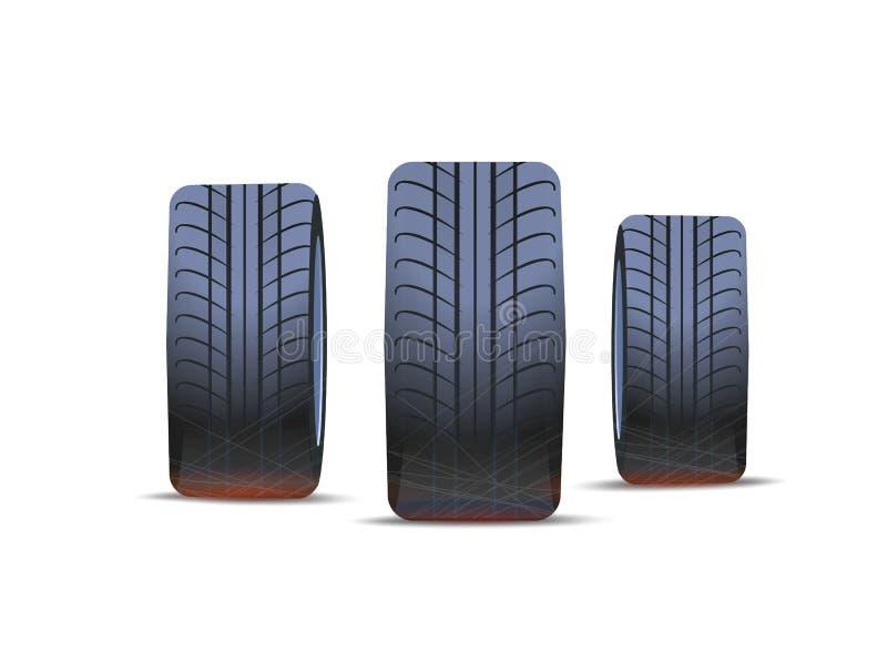 Le pneu des voitures, pneu d'été d'hiver a isolé des icônes illustration de vecteur