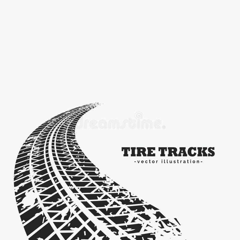 le pneu sale dépiste l'effacement dans l'horizon illustration stock