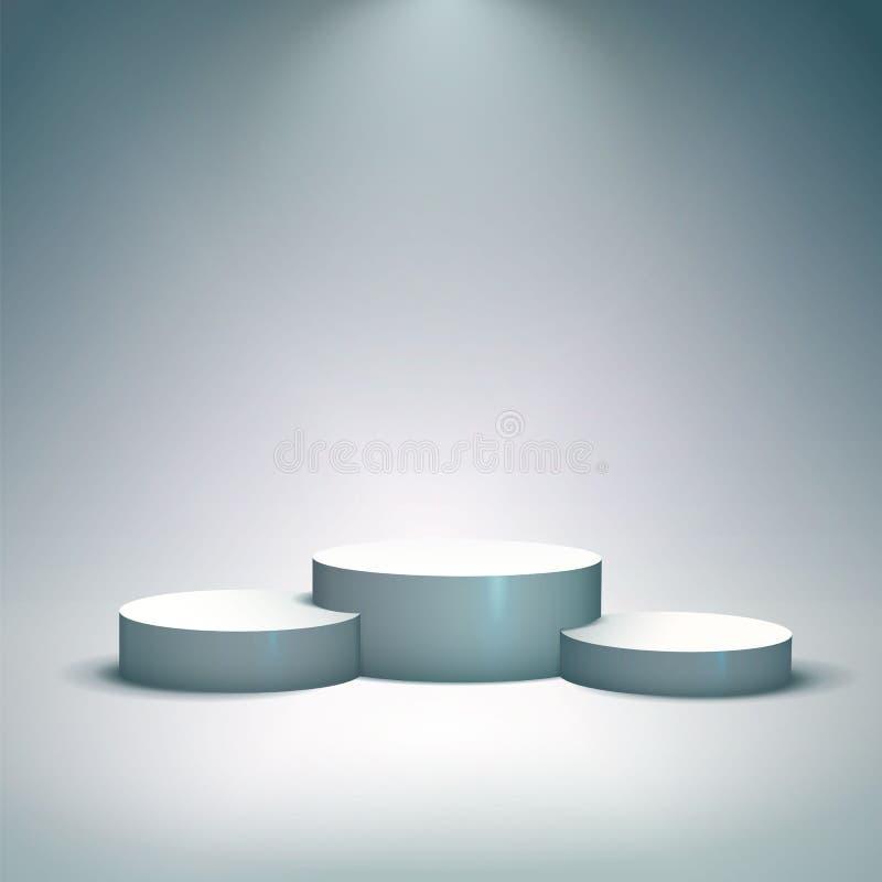 Le podium blanc de gagnants pour des concepts d'affaires dirigent l'illustration illustration de vecteur