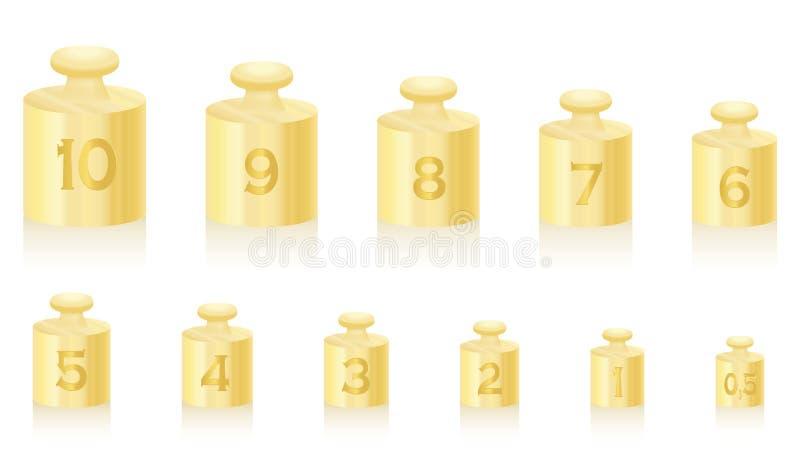 Le poids amasse l'échelle d'or illustration de vecteur