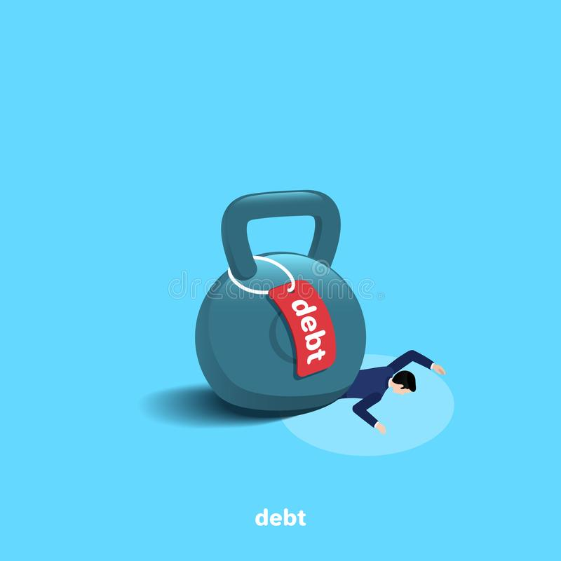 Le poids avec une dette de label est sur un homme menteur dans un costume illustration stock