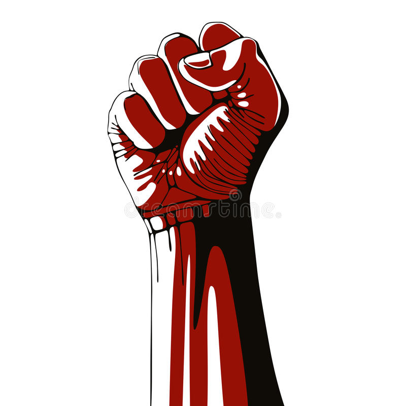 Le poing serré a tenu la haute dans la protestation illustration stock