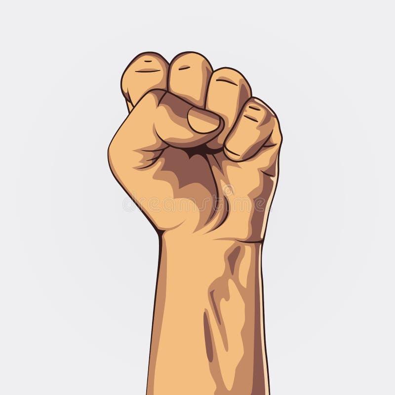 Le poing serré a tenu la haute dans la protestation illustration libre de droits
