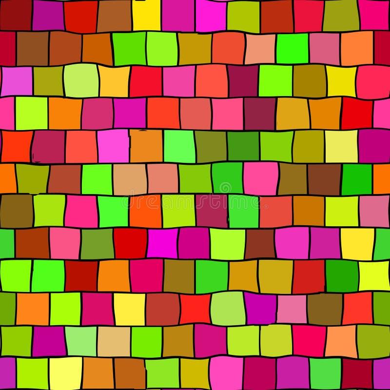 Le point culminant sans couture a coloré le fond de modèle de texture de mosaïque - morceaux carrés dans vert, orange, développé, illustration de vecteur