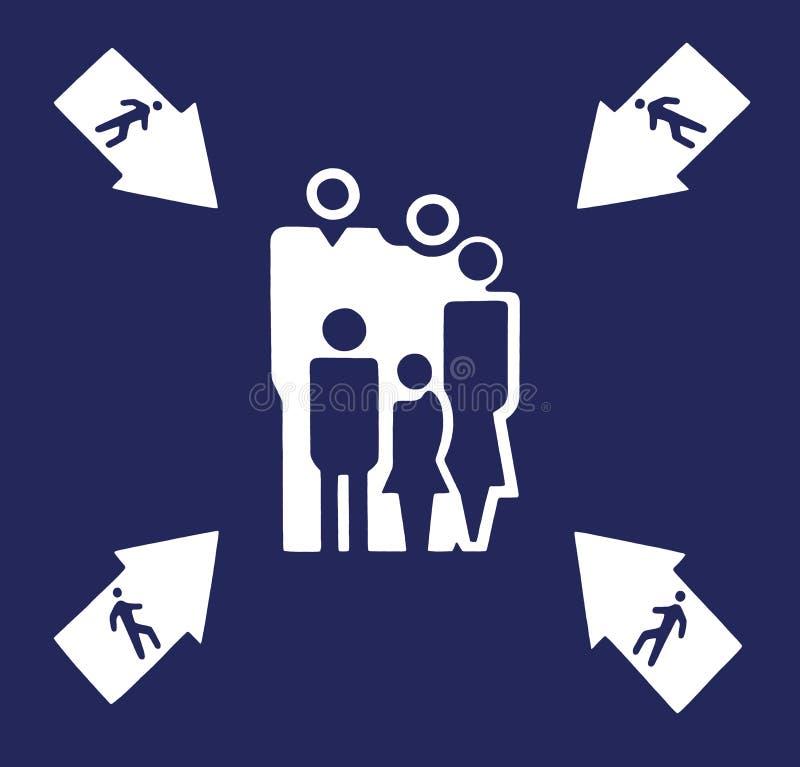 Le point d'assemblée blanc se connectent le bleu illustration stock