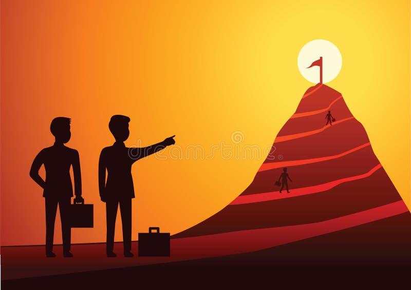 Le point d'homme d'affaires au drapeau à la crête de la montagne et l'homme fonctionnent au goa illustration de vecteur