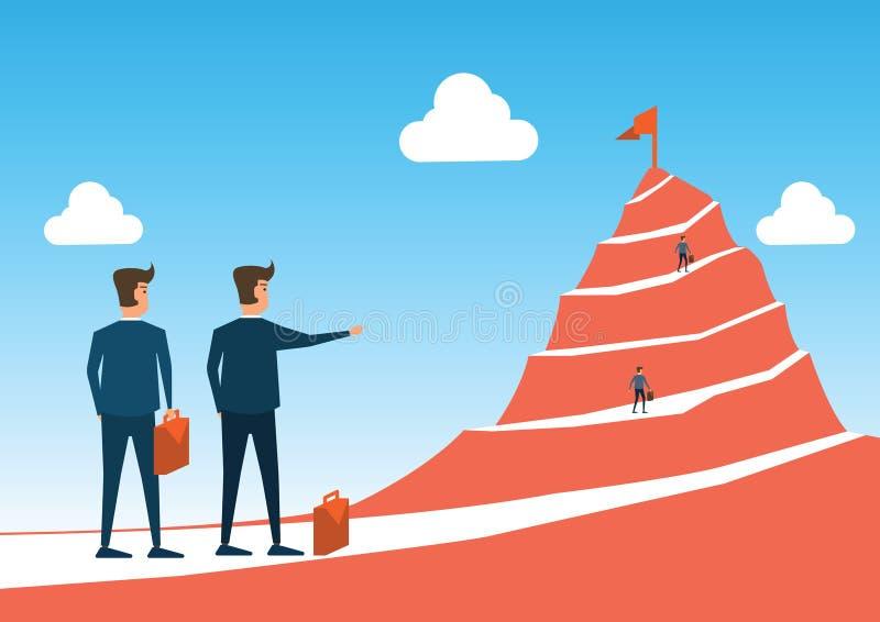 Le point d'homme d'affaires au drapeau à la crête de la montagne et l'homme fonctionnent au goa illustration stock
