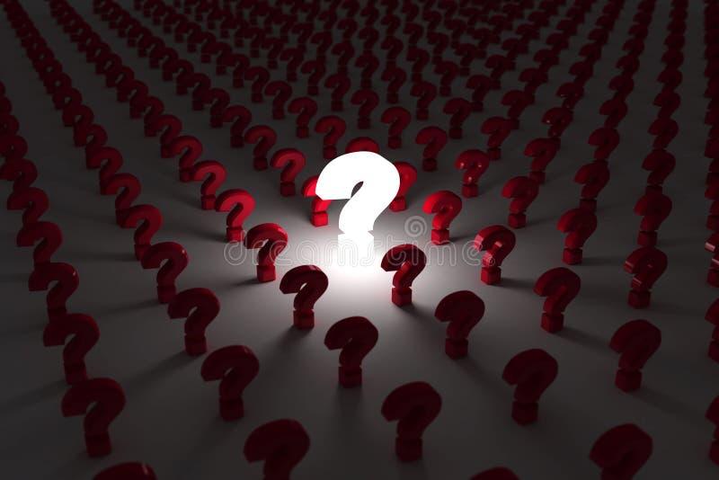 Le point d'interrogation rougeoie illustration de vecteur
