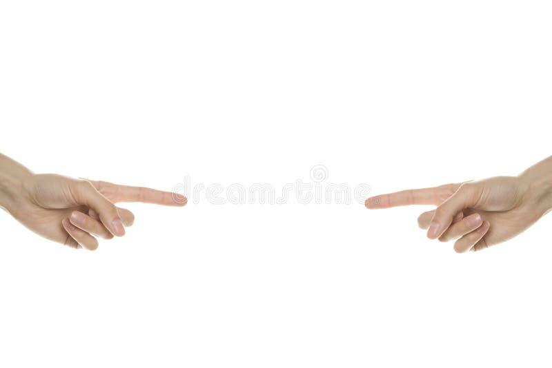 Le point de mains au centre image libre de droits
