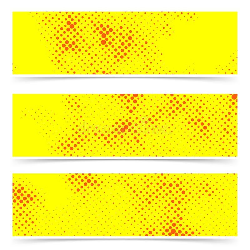 Le point de polka tramé pointillé jaune-orange carde la collection illustration de vecteur