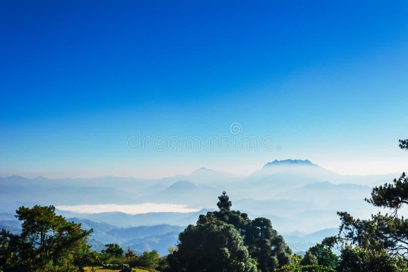 Le point de vue d'arbre, le brouillard et la montagne scen mangent Huai Nam Dang National Park, Chingmai photo stock