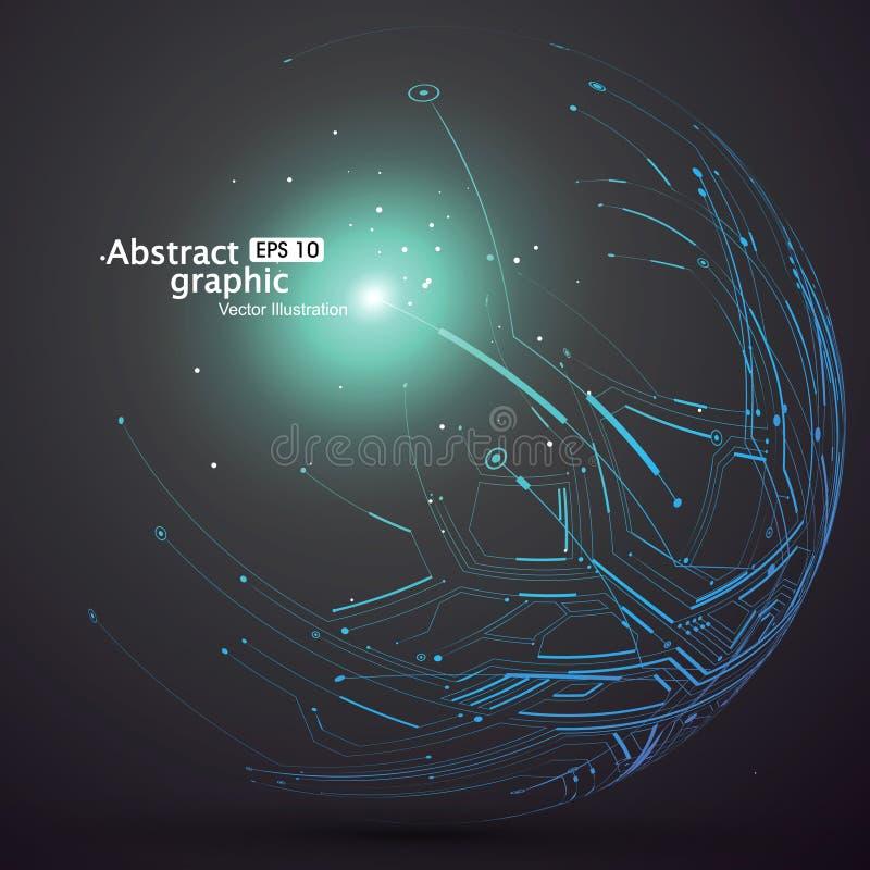 Le point et la courbe ont construit le wireframe de sphère, illustration technologique d'abrégé sur sens illustration de vecteur