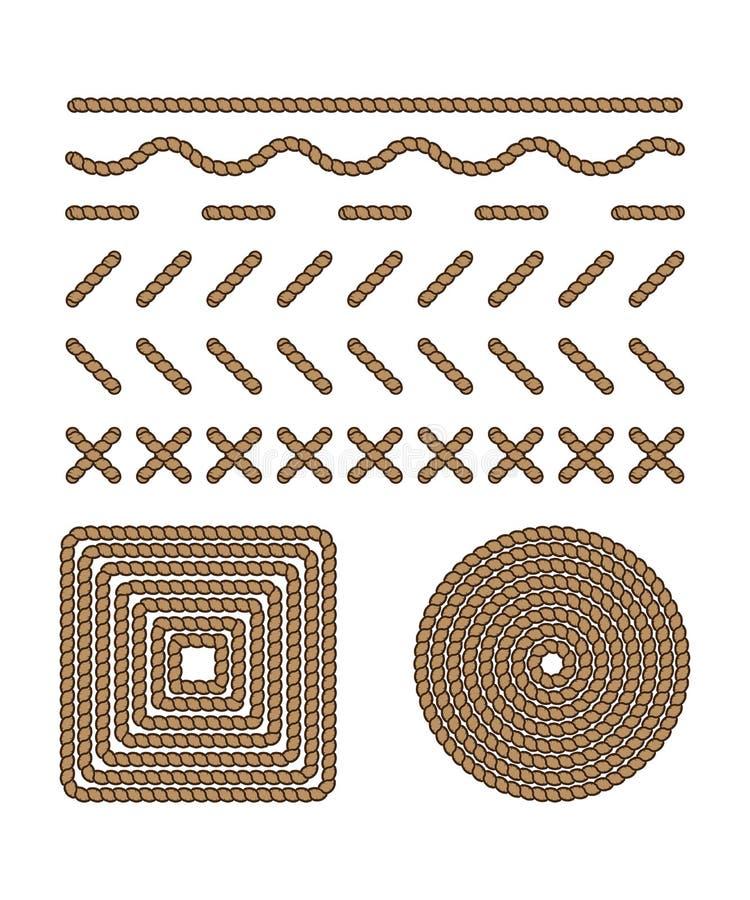 Le point et le cadre réglés de style sous la forme rope, filètent illustration stock